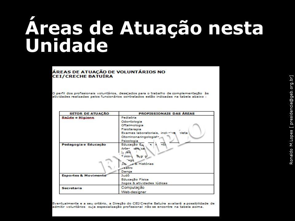 Ronaldo M.Lopes [ presidencia@geb.org.br] Áreas de Atuação nesta Unidade 48