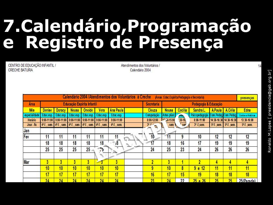 Ronaldo M.Lopes [ presidencia@geb.org.br] 7.Calendário,Programação e Registro de Presença 58