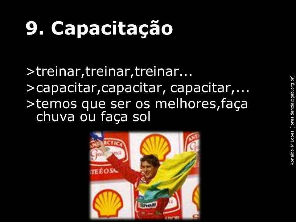 Ronaldo M.Lopes [ presidencia@geb.org.br] 9. Capacitação >treinar,treinar,treinar... >capacitar,capacitar, capacitar,... >temos que ser os melhores,fa
