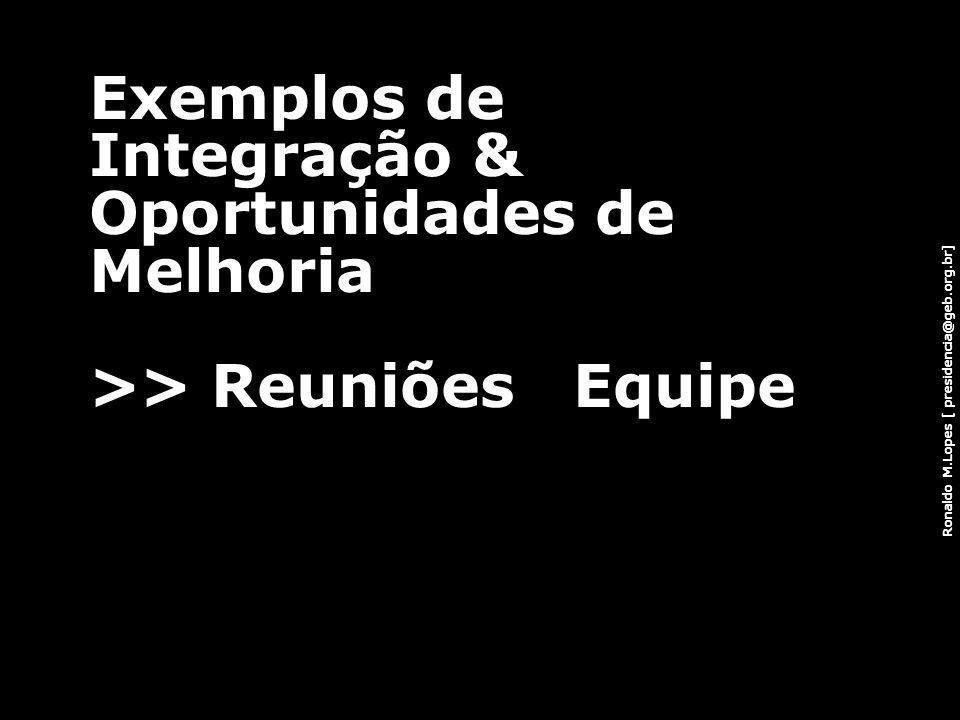 Ronaldo M.Lopes [ presidencia@geb.org.br] Exemplos de Integração & Oportunidades de Melhoria >> Reuniões Equipe 66