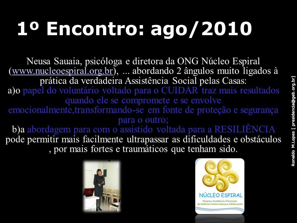 Ronaldo M.Lopes [ presidencia@geb.org.br] 1º Encontro: ago/2010 Neusa Sauaia, psicóloga e diretora da ONG Núcleo Espiral (www.nucleoespiral.org.br),..