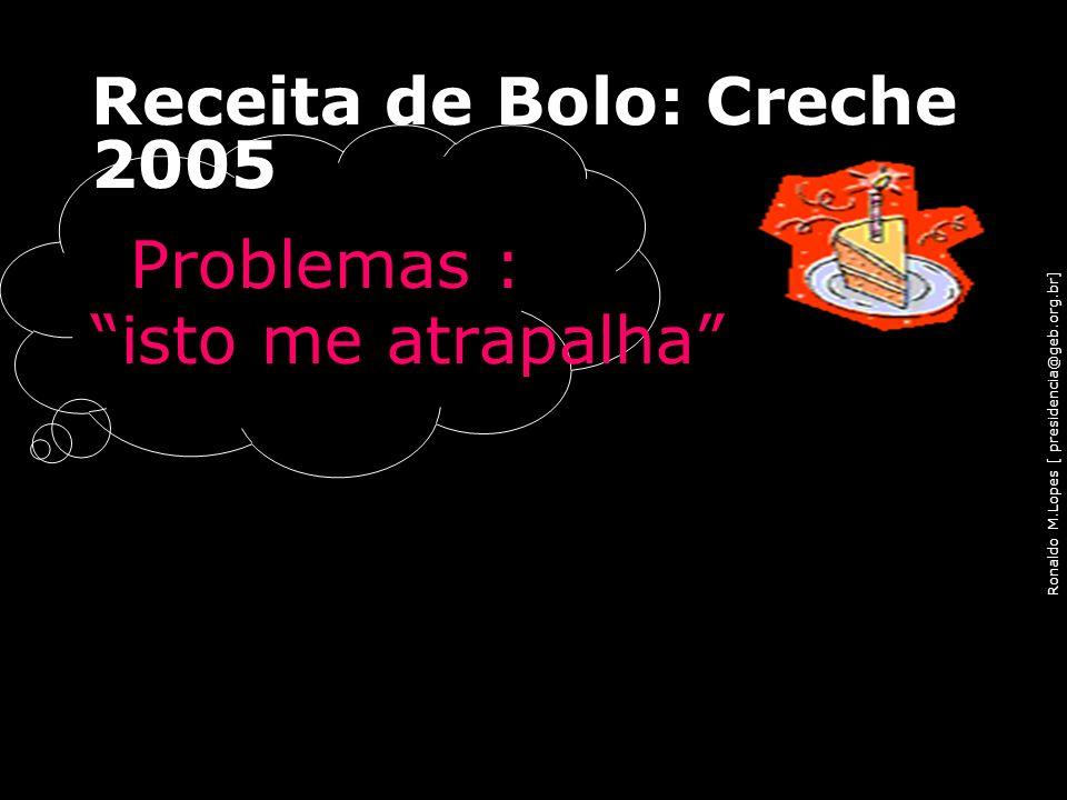 Ronaldo M.Lopes [ presidencia@geb.org.br] Receita de Bolo: Creche 2005 Problemas : isto me atrapalha 88