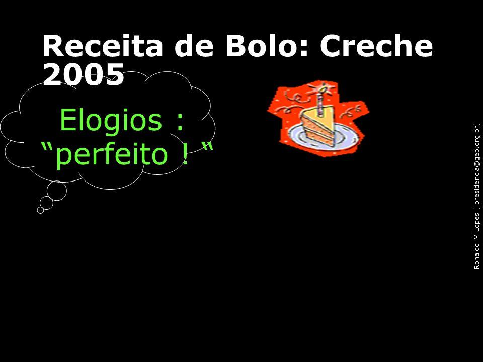 Ronaldo M.Lopes [ presidencia@geb.org.br] Receita de Bolo: Creche 2005 Elogios : perfeito ! 91