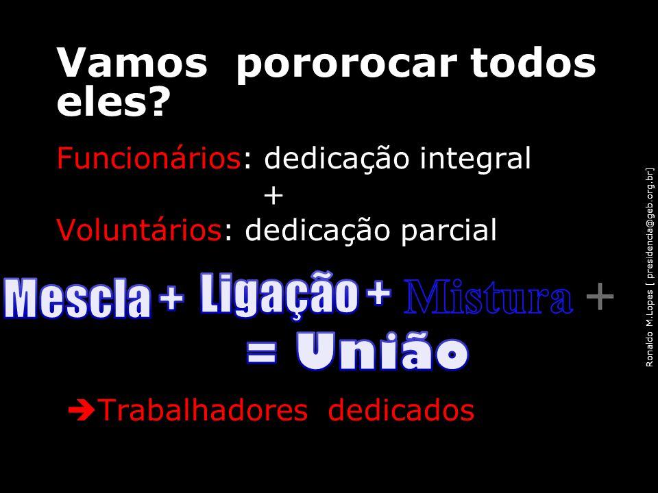 Ronaldo M.Lopes [ presidencia@geb.org.br] Vamos pororocar todos eles? Funcionários: dedicação integral + Voluntários: dedicação parcial Trabalhadores
