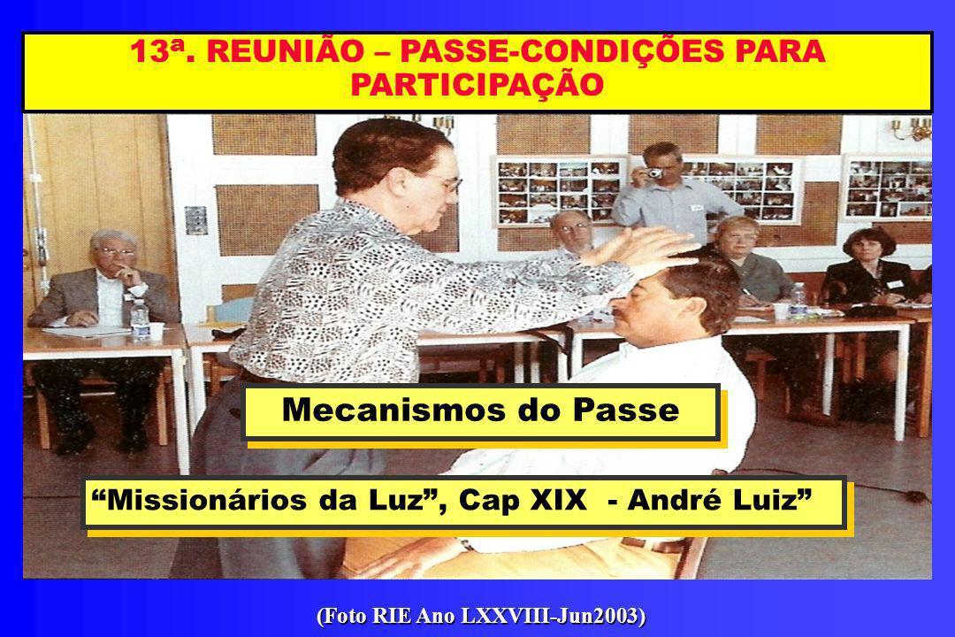 13 a. REUNIÃO – PASSE-CONDIÇÕES PARA PARTICIPAÇÃO Mecanismos do Passe Mecanismos do Passe Missionários da Luz, Cap XIX - André Luiz Missionários da Lu