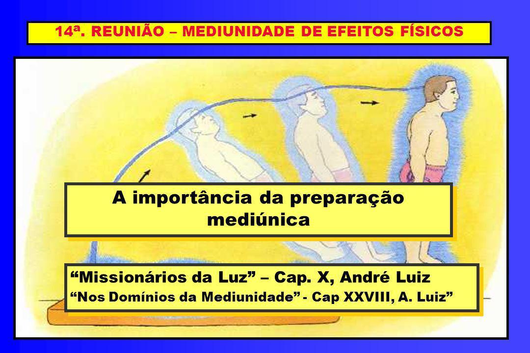 14 a. REUNIÃO – MEDIUNIDADE DE EFEITOS FÍSICOS A importância da preparação mediúnica A importância da preparação mediúnica Missionários da Luz – Cap.