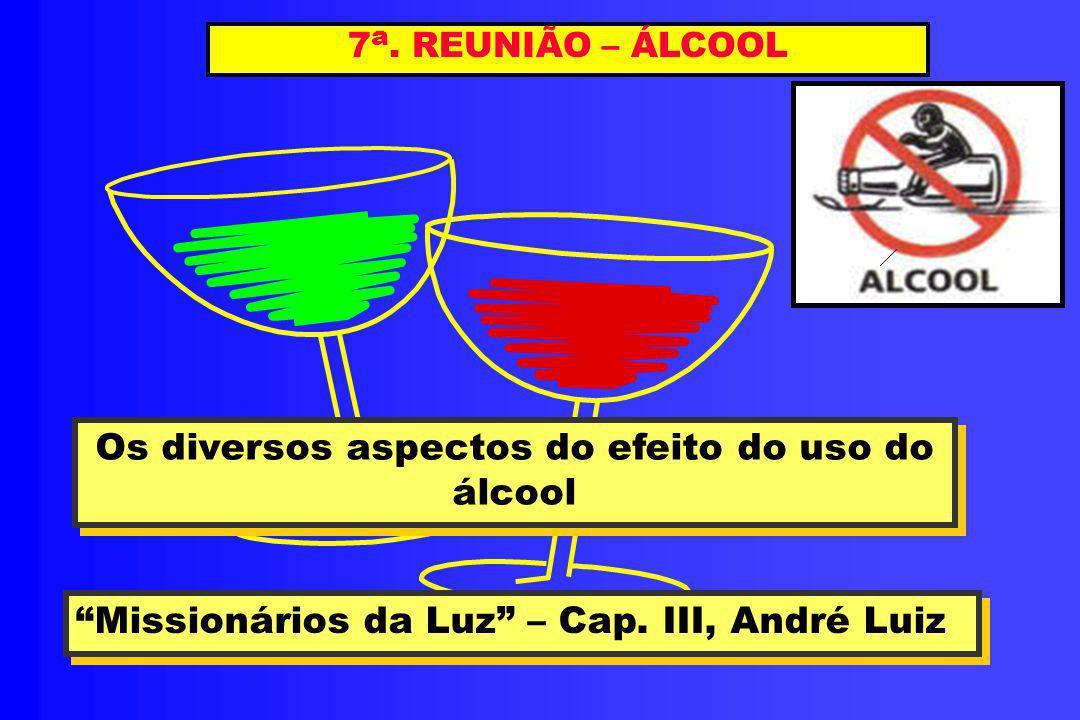 7 a. REUNIÃO – ÁLCOOL Os diversos aspectos do efeito do uso do álcool Os diversos aspectos do efeito do uso do álcool Missionários da Luz – Cap. III,