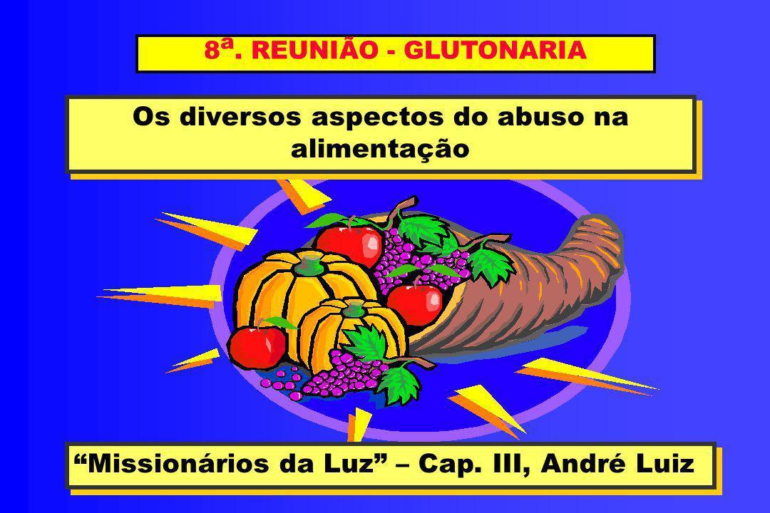 8 a. REUNIÃO - GLUTONARIA Os diversos aspectos do abuso na alimentação Os diversos aspectos do abuso na alimentação Missionários da Luz – Cap. III, An
