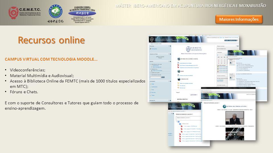 Recursos online CAMPUS VIRTUAL COM TECNOLOGIA MOODLE... Videoconferências; Material Multimídia e Audiovisual; Acesso à Biblioteca Online da FEMTC (mai