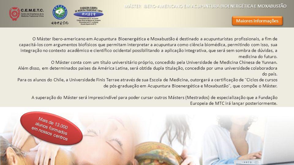 O Máster Ibero-americano em Acupuntura Bioenergética e Moxabustão é destinado a acupunturistas profissionais, a fim de capacitá-los com argumentos bio