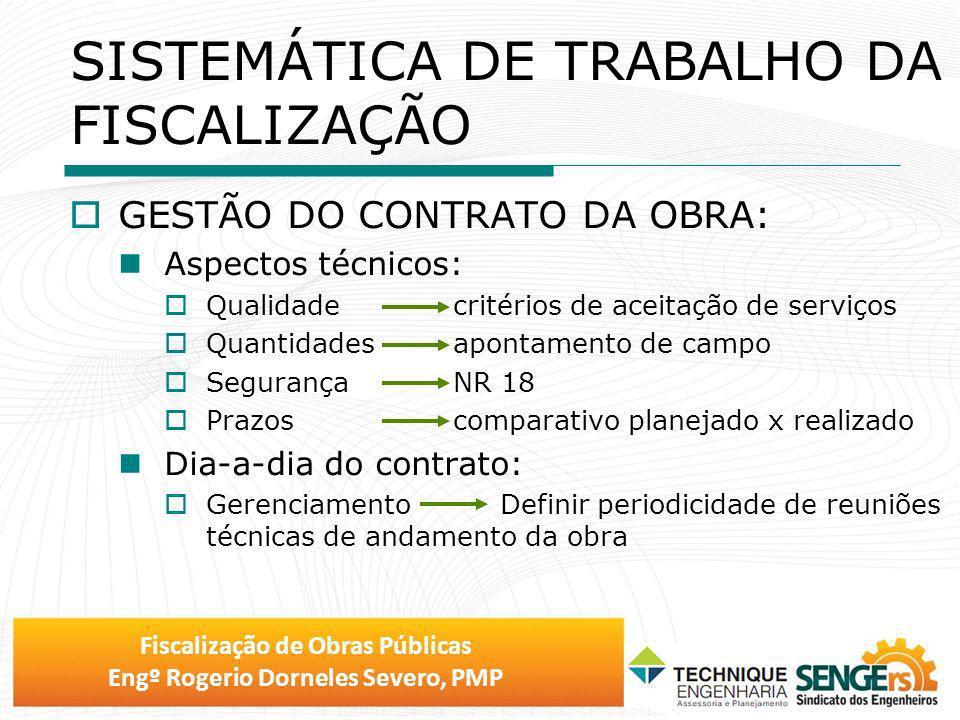 Fiscalização de Obras Públicas Engº Rogerio Dorneles Severo, PMP SISTEMÁTICA DE TRABALHO DA FISCALIZAÇÃO GESTÃO DO CONTRATO DA OBRA: Aspectos técnicos