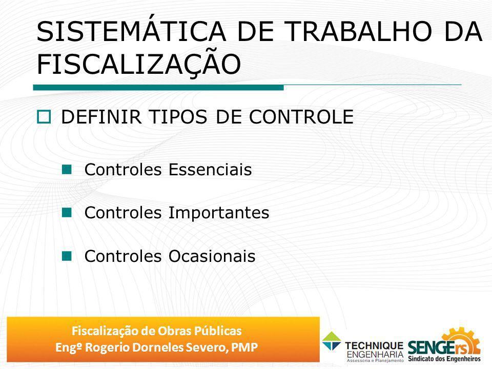 Fiscalização de Obras Públicas Engº Rogerio Dorneles Severo, PMP DEFINIR TIPOS DE CONTROLE Controles Essenciais Controles Importantes Controles Ocasio