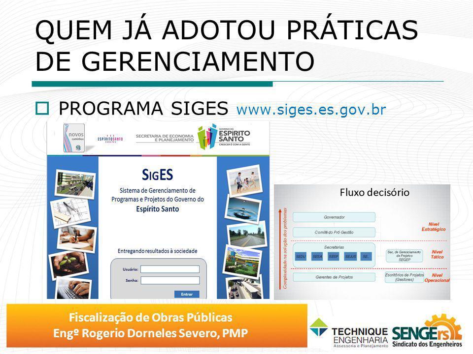 Fiscalização de Obras Públicas Engº Rogerio Dorneles Severo, PMP QUEM JÁ ADOTOU PRÁTICAS DE GERENCIAMENTO PROGRAMA SIGES www.siges.es.gov.br www.gerae