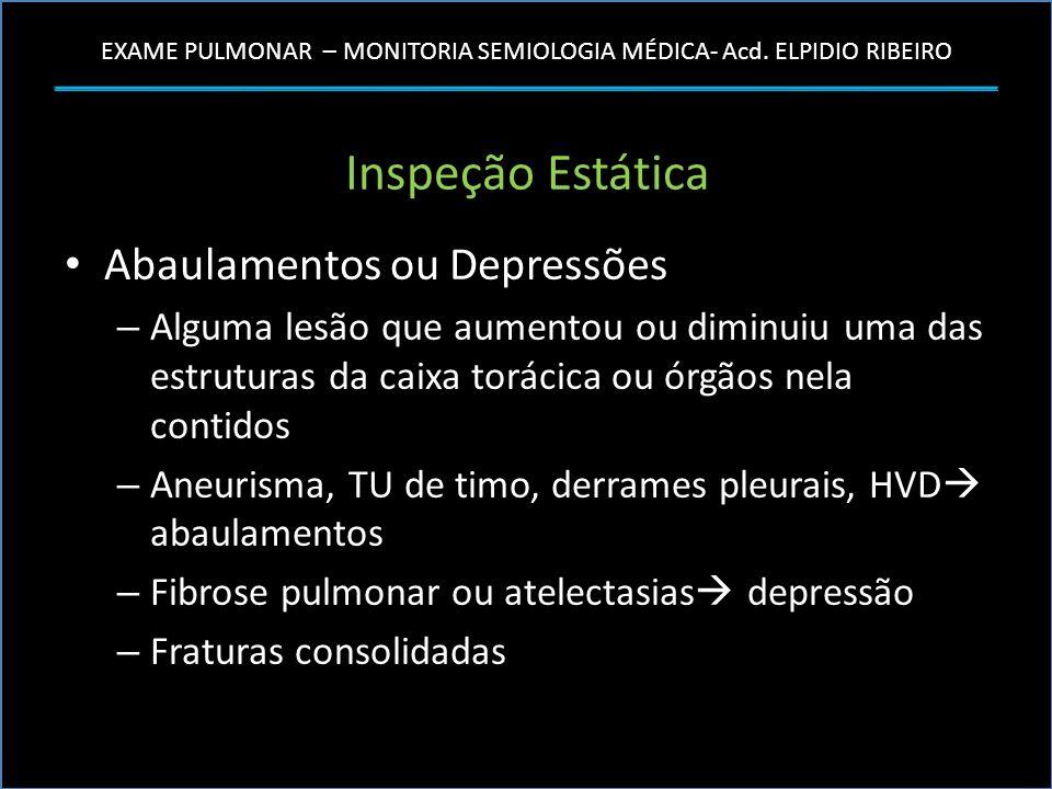 EXAME PULMONAR – MONITORIA SEMIOLOGIA MÉDICA- Acd. ELPIDIO RIBEIRO Inspeção Estática Abaulamentos ou Depressões – Alguma lesão que aumentou ou diminui
