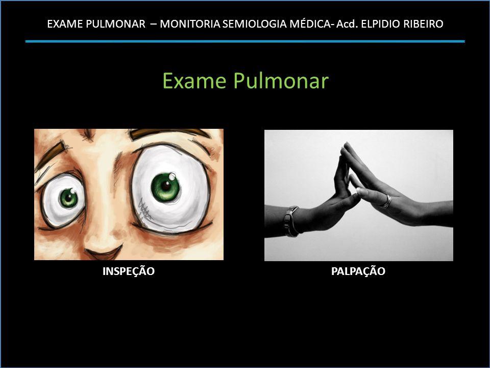 EXAME PULMONAR – MONITORIA SEMIOLOGIA MÉDICA- Acd. ELPIDIO RIBEIRO Exame Pulmonar INSPEÇÃOPALPAÇÃO