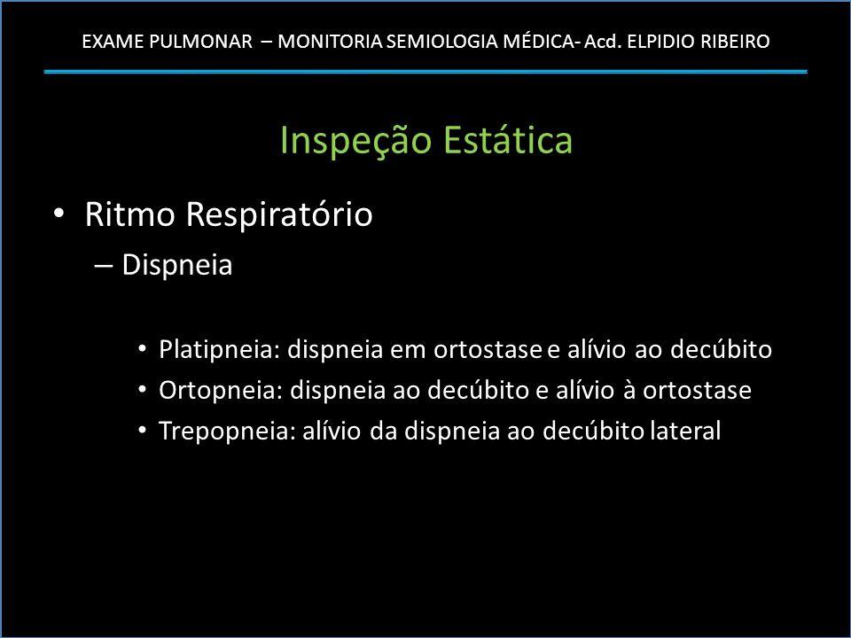 EXAME PULMONAR – MONITORIA SEMIOLOGIA MÉDICA- Acd. ELPIDIO RIBEIRO Inspeção Estática Ritmo Respiratório – Dispneia Platipneia: dispneia em ortostase e