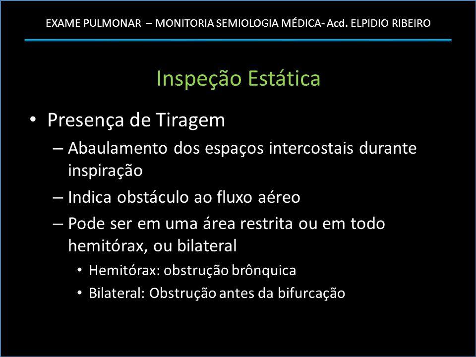 EXAME PULMONAR – MONITORIA SEMIOLOGIA MÉDICA- Acd. ELPIDIO RIBEIRO Inspeção Estática Presença de Tiragem – Abaulamento dos espaços intercostais durant