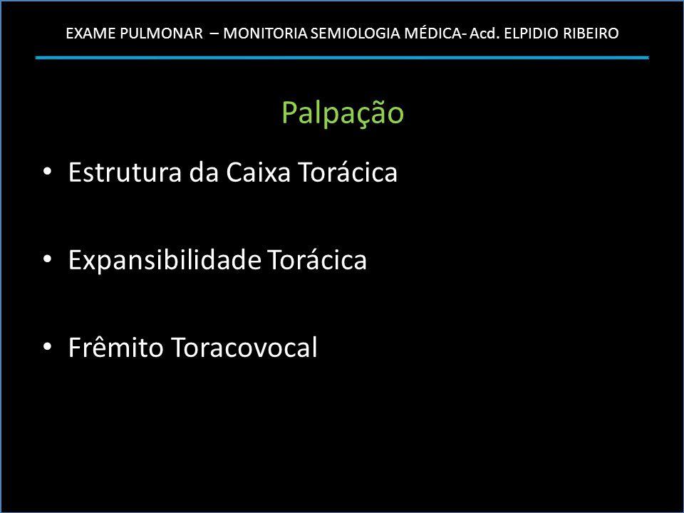 EXAME PULMONAR – MONITORIA SEMIOLOGIA MÉDICA- Acd. ELPIDIO RIBEIRO Palpação Estrutura da Caixa Torácica Expansibilidade Torácica Frêmito Toracovocal