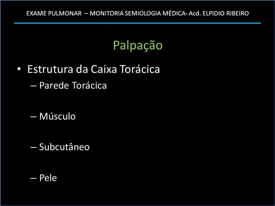 EXAME PULMONAR – MONITORIA SEMIOLOGIA MÉDICA- Acd. ELPIDIO RIBEIRO Palpação Estrutura da Caixa Torácica – Parede Torácica – Músculo – Subcutâneo – Pel