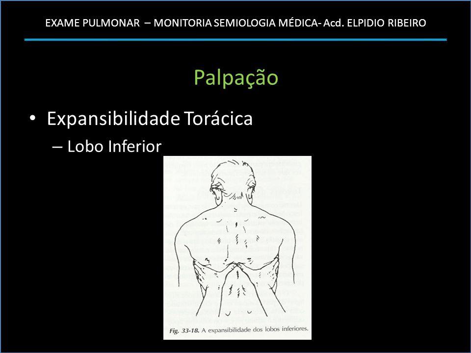 EXAME PULMONAR – MONITORIA SEMIOLOGIA MÉDICA- Acd. ELPIDIO RIBEIRO Palpação Expansibilidade Torácica – Lobo Inferior