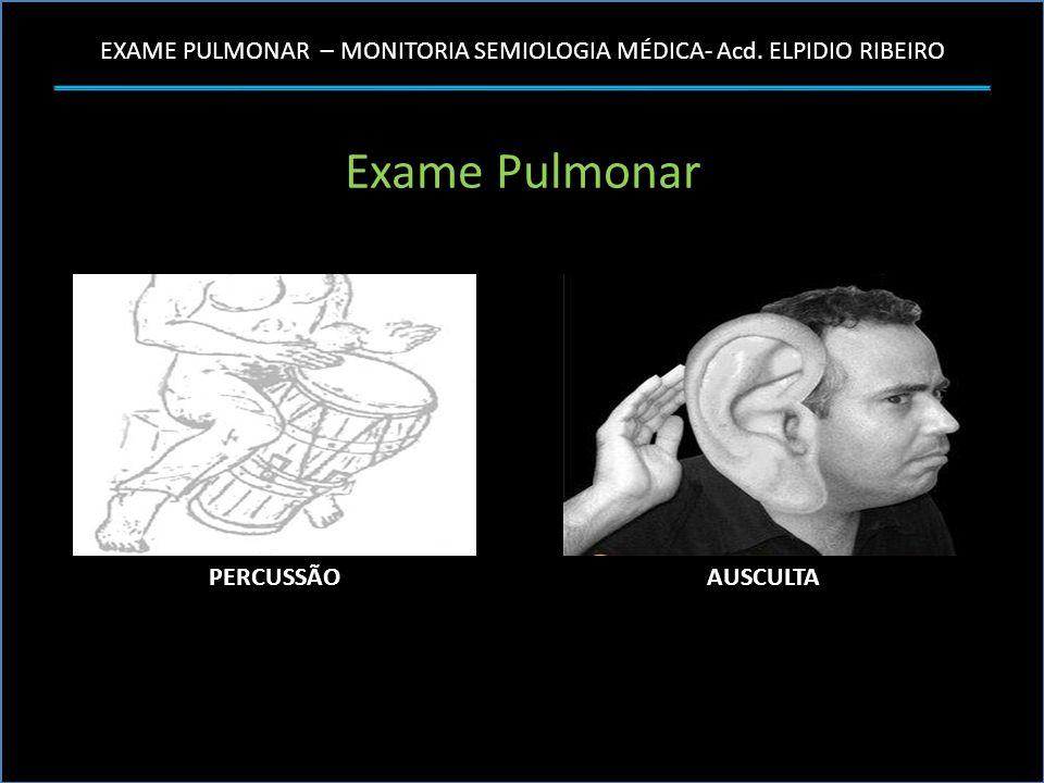 EXAME PULMONAR – MONITORIA SEMIOLOGIA MÉDICA- Acd. ELPIDIO RIBEIRO Exame Pulmonar PERCUSSÃOAUSCULTA