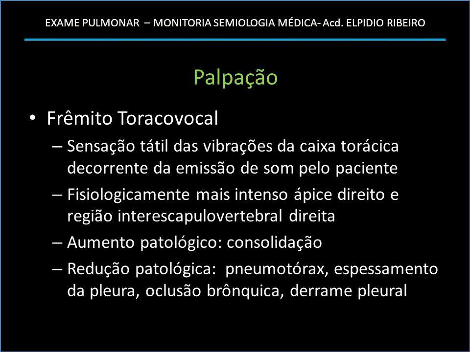 EXAME PULMONAR – MONITORIA SEMIOLOGIA MÉDICA- Acd. ELPIDIO RIBEIRO Palpação Frêmito Toracovocal – Sensação tátil das vibrações da caixa torácica decor