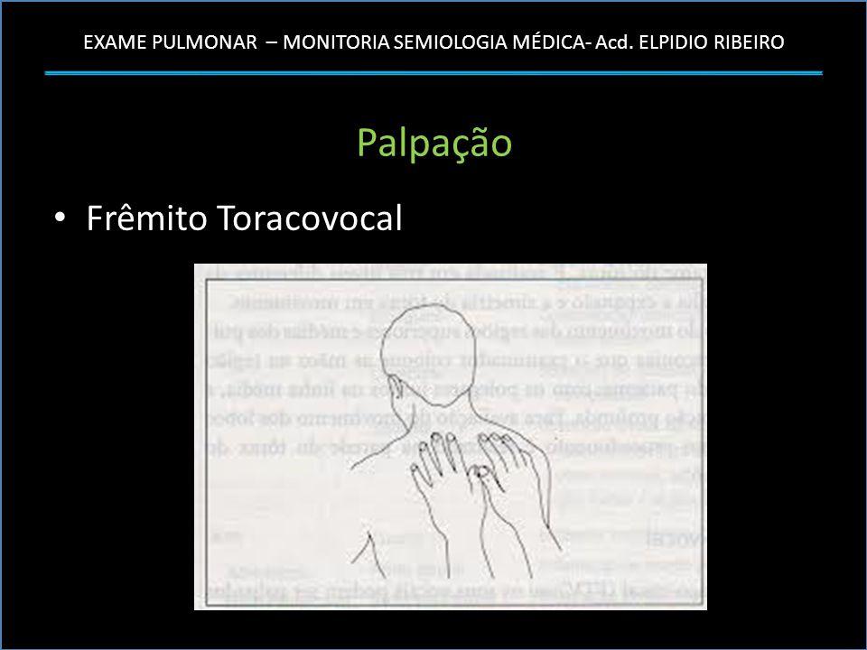 EXAME PULMONAR – MONITORIA SEMIOLOGIA MÉDICA- Acd. ELPIDIO RIBEIRO Palpação Frêmito Toracovocal