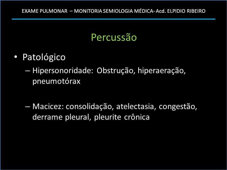 EXAME PULMONAR – MONITORIA SEMIOLOGIA MÉDICA- Acd. ELPIDIO RIBEIRO Percussão Patológico – Hipersonoridade: Obstrução, hiperaeração, pneumotórax – Maci