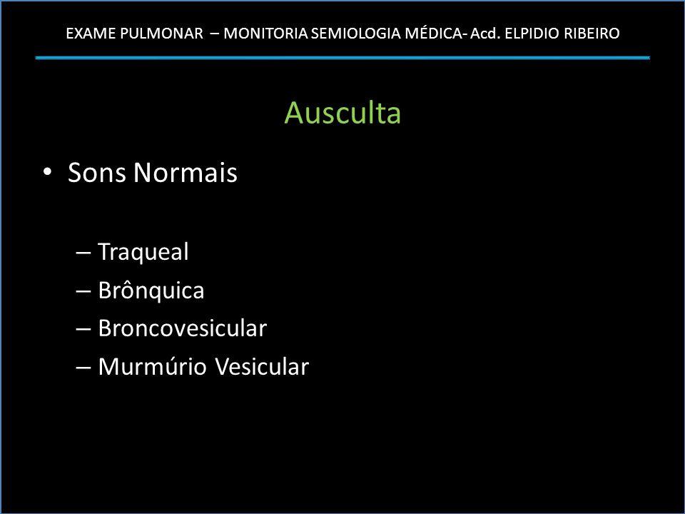 EXAME PULMONAR – MONITORIA SEMIOLOGIA MÉDICA- Acd. ELPIDIO RIBEIRO Ausculta Sons Normais – Traqueal – Brônquica – Broncovesicular – Murmúrio Vesicular