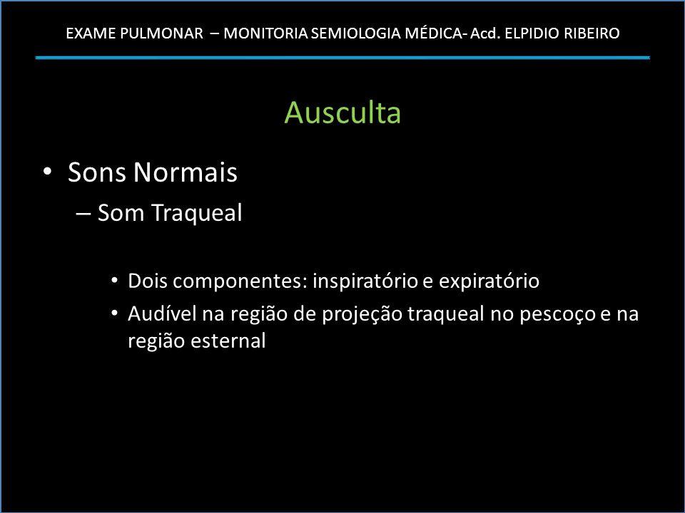 EXAME PULMONAR – MONITORIA SEMIOLOGIA MÉDICA- Acd. ELPIDIO RIBEIRO Ausculta Sons Normais – Som Traqueal Dois componentes: inspiratório e expiratório A