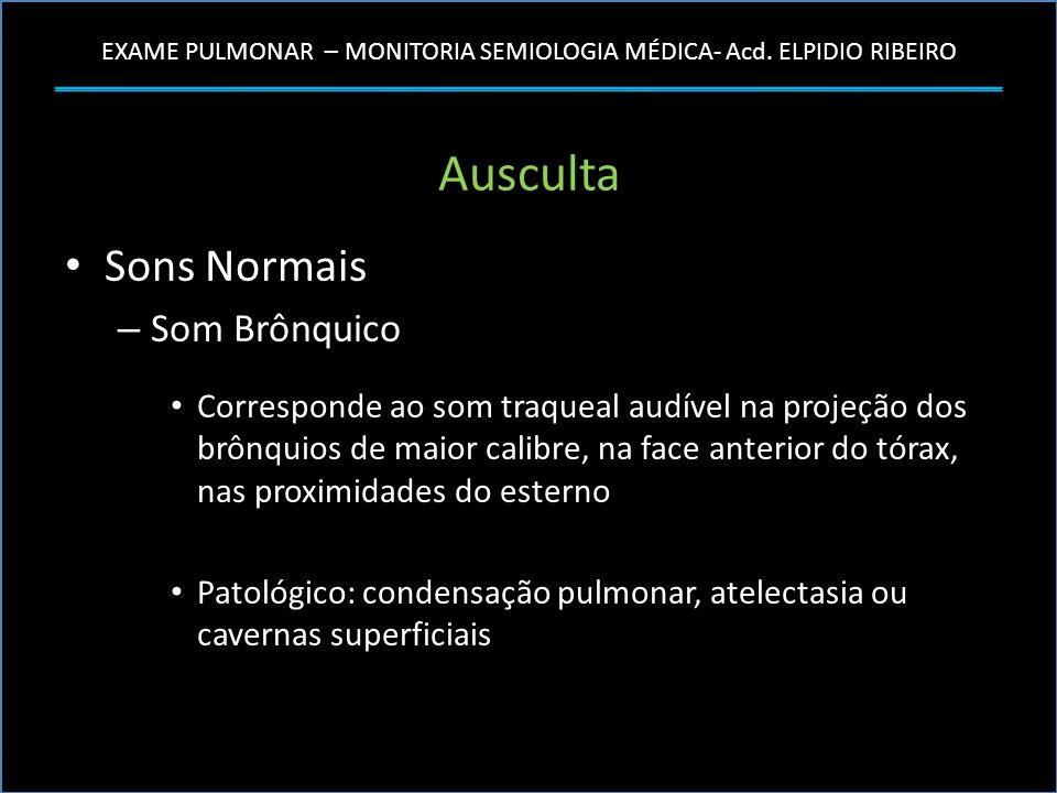EXAME PULMONAR – MONITORIA SEMIOLOGIA MÉDICA- Acd. ELPIDIO RIBEIRO Ausculta Sons Normais – Som Brônquico Corresponde ao som traqueal audível na projeç