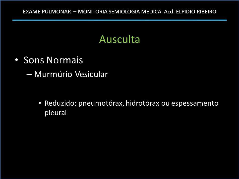 EXAME PULMONAR – MONITORIA SEMIOLOGIA MÉDICA- Acd. ELPIDIO RIBEIRO Ausculta Sons Normais – Murmúrio Vesicular Reduzido: pneumotórax, hidrotórax ou esp