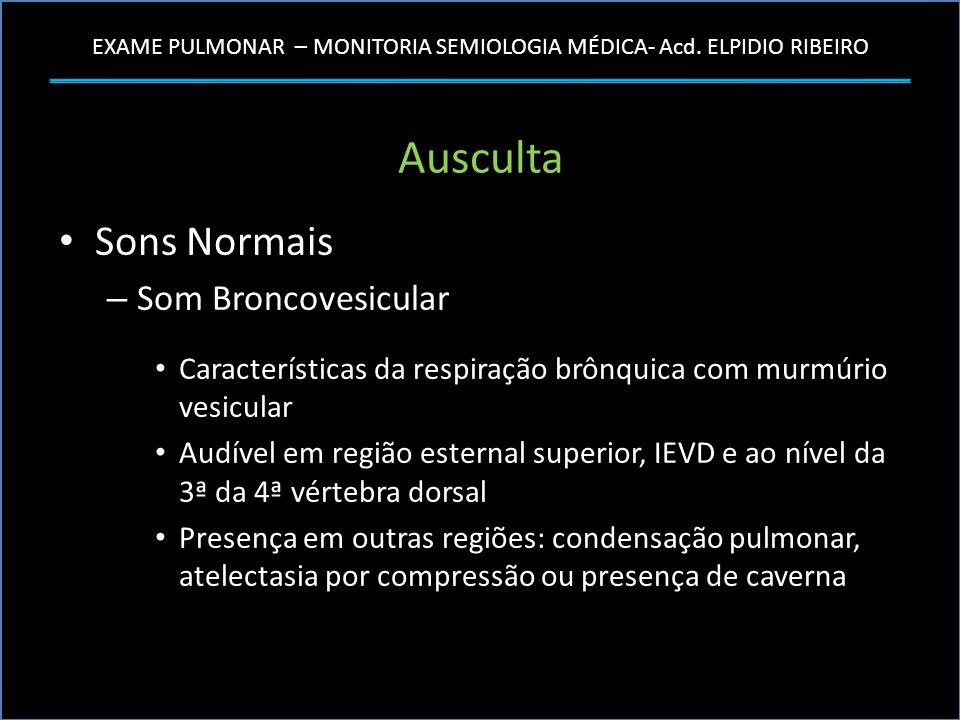 EXAME PULMONAR – MONITORIA SEMIOLOGIA MÉDICA- Acd. ELPIDIO RIBEIRO Ausculta Sons Normais – Som Broncovesicular Características da respiração brônquica
