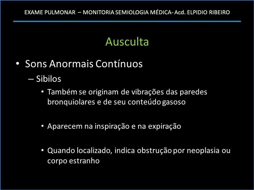 EXAME PULMONAR – MONITORIA SEMIOLOGIA MÉDICA- Acd. ELPIDIO RIBEIRO Ausculta Sons Anormais Contínuos – Sibilos Também se originam de vibrações das pare