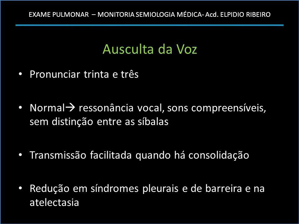 EXAME PULMONAR – MONITORIA SEMIOLOGIA MÉDICA- Acd. ELPIDIO RIBEIRO Ausculta da Voz Pronunciar trinta e três Normal ressonância vocal, sons compreensív