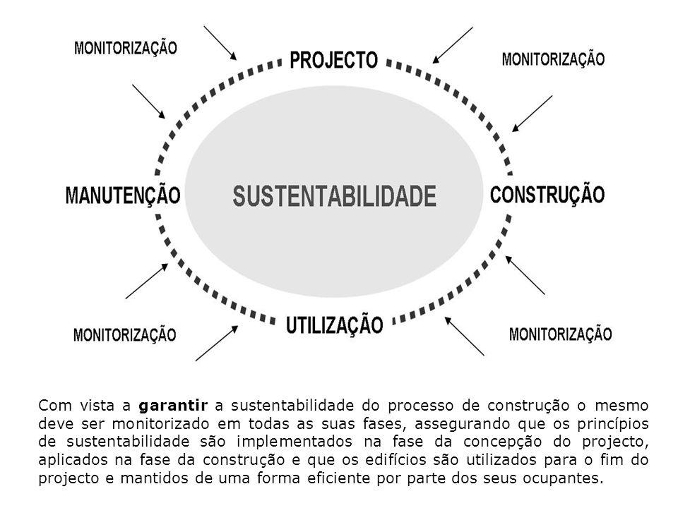 Com vista a garantir a sustentabilidade do processo de construção o mesmo deve ser monitorizado em todas as suas fases, assegurando que os princípios