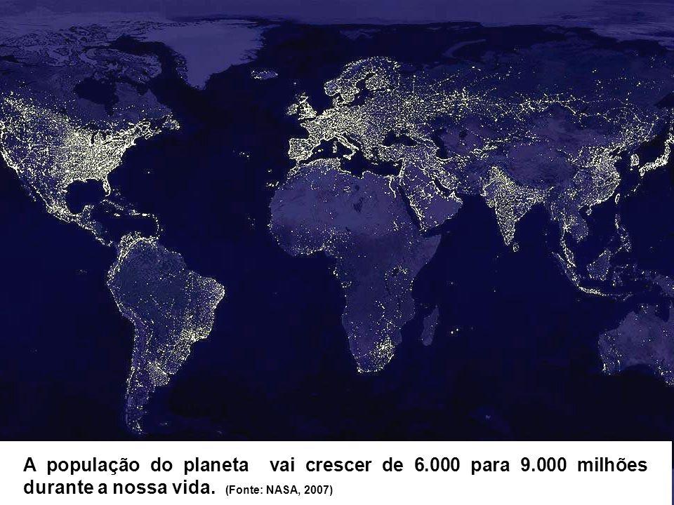 A população do planeta vai crescer de 6.000 para 9.000 milhões durante a nossa vida. (Fonte: NASA, 2007)
