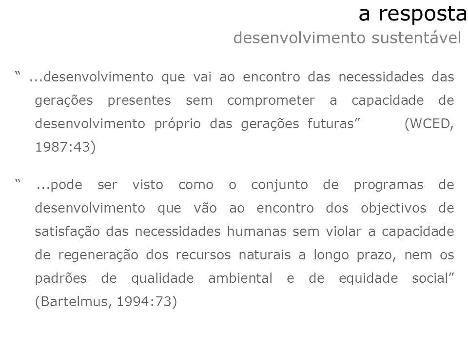 a resposta...desenvolvimento que vai ao encontro das necessidades das gerações presentes sem comprometer a capacidade de desenvolvimento próprio das g