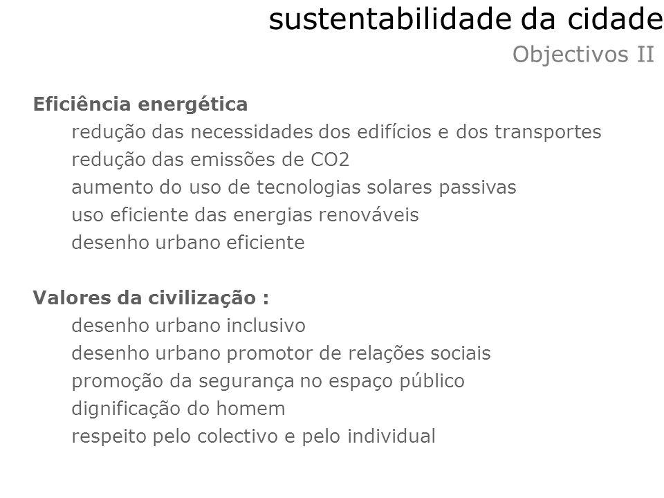 sustentabilidade da cidade Objectivos II Eficiência energética redução das necessidades dos edifícios e dos transportes redução das emissões de CO2 au