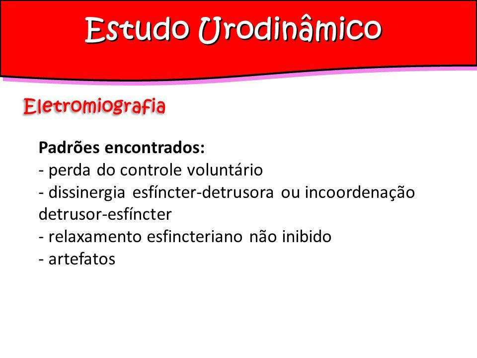 Estudo Urodinâmico Eletromiografia Padrões encontrados: - perda do controle voluntário - dissinergia esfíncter-detrusora ou incoordenação detrusor-esf