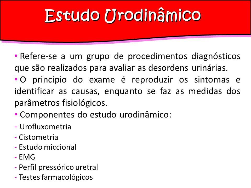 Estudo Urodinâmico Indicações: pacientes que tenham vários sintomas urinários associados pacientes já submetidas a tratamento (clínico ou cirúrgico) para incontinência urinária, sem resultados satisfatórios; incontinências urinárias recidivadas pacientes com antecedentes de cirurgias ginecológicas ou para tratamento de neoplasias malignas da pelve pacientes submetidas à radioterapia pacientes que serão submetidos a cirurgia