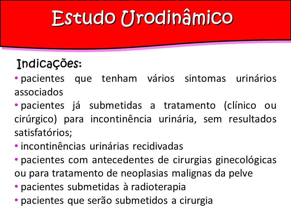 Estudo Urodinâmico Indicações: pacientes que tenham vários sintomas urinários associados pacientes já submetidas a tratamento (clínico ou cirúrgico) p