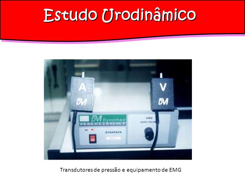 Estudo Urodinâmico Equipamento de estudo urodinâmico Acessórios: Eletrodos (superfície ou de agulha) Amplificador de sinal para eletromiografia (EMG) Aparelho de áudio para os sinais amplificados da EMG Mesa multiarticulada compatível com intensificador de imagem Extrator de cateter com bomba de baixo volume acoplada Intensificador de imagem (C arm e monitoresdigitais)