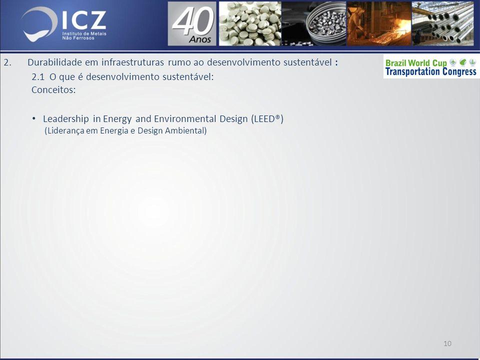 2.Durabilidade em infraestruturas rumo ao desenvolvimento sustentável : 2.1 O que é desenvolvimento sustentável: Conceitos: Leadership in Energy and Environmental Design (LEED®) (Liderança em Energia e Design Ambiental) 10