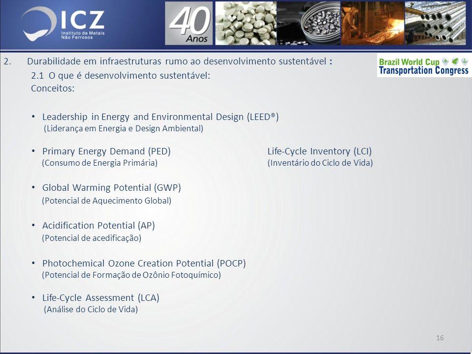 2.Durabilidade em infraestruturas rumo ao desenvolvimento sustentável : 2.1 O que é desenvolvimento sustentável: Conceitos: Leadership in Energy and Environmental Design (LEED®) (Liderança em Energia e Design Ambiental) Primary Energy Demand (PED)Life-Cycle Inventory (LCI) (Consumo de Energia Primária)(Inventário do Ciclo de Vida) Global Warming Potential (GWP) (Potencial de Aquecimento Global) Acidification Potential (AP) (Potencial de acedificação) Photochemical Ozone Creation Potential (POCP) (Potencial de Formação de Ozônio Fotoquímico) Life-Cycle Assessment (LCA) (Análise do Ciclo de Vida) 16