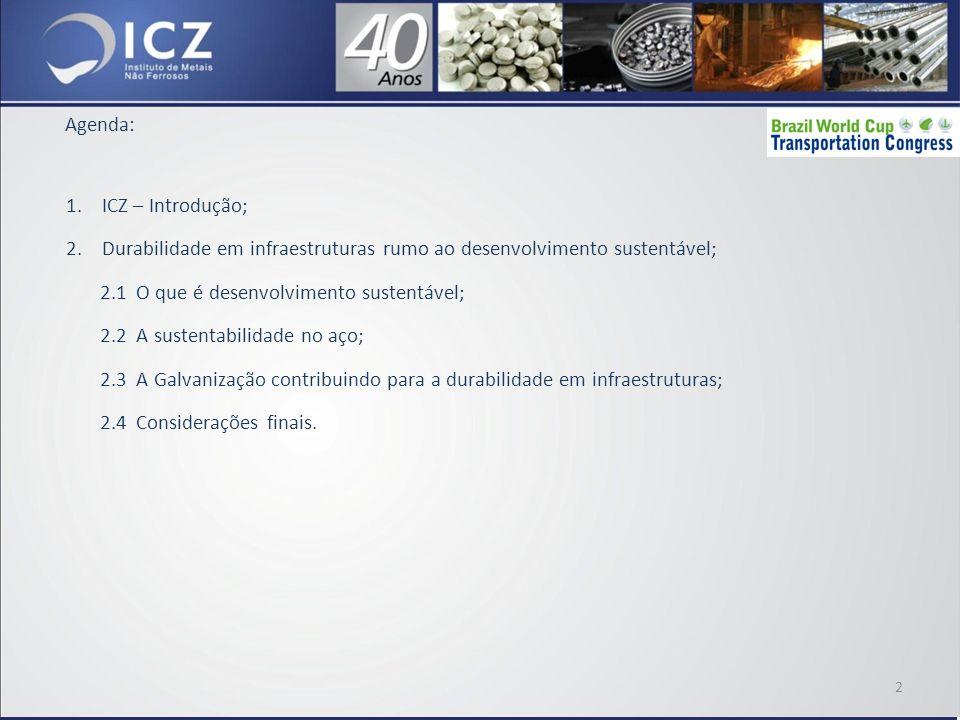 1.ICZ – Introdução; 2.Durabilidade em infraestruturas rumo ao desenvolvimento sustentável; 2.1 O que é desenvolvimento sustentável; 2.2 A sustentabilidade no aço; 2.3 A Galvanização contribuindo para a durabilidade em infraestruturas; 2.4 Considerações finais.