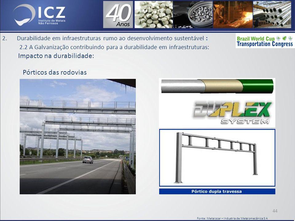 2.Durabilidade em infraestruturas rumo ao desenvolvimento sustentável : 2.2 A Galvanização contribuindo para a durabilidade em infraestruturas: Impacto na durabilidade: 44 Fonte: Metalocar – Industria de Metalomecânica S A Pórticos das rodovias