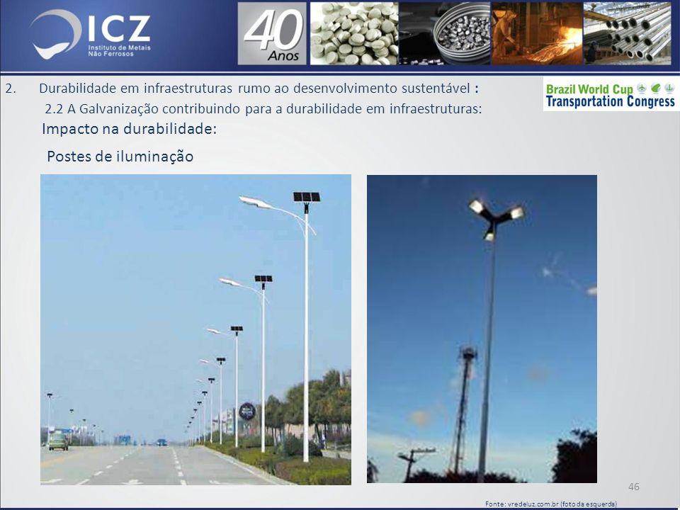 2.Durabilidade em infraestruturas rumo ao desenvolvimento sustentável : 2.2 A Galvanização contribuindo para a durabilidade em infraestruturas: Impacto na durabilidade: 46 Fonte: vredeluz.com.br (foto da esquerda) Postes de iluminação