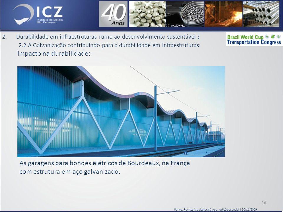 2.Durabilidade em infraestruturas rumo ao desenvolvimento sustentável : 2.2 A Galvanização contribuindo para a durabilidade em infraestruturas: Impacto na durabilidade: 49 Fonte: Revista Arquitetura & Aço - edição especial | 10/11/2009 As garagens para bondes elétricos de Bourdeaux, na França com estrutura em aço galvanizado.