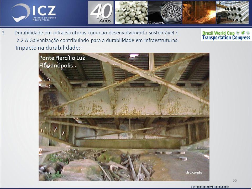 2.Durabilidade em infraestruturas rumo ao desenvolvimento sustentável : 2.2 A Galvanização contribuindo para a durabilidade em infraestruturas: Impacto na durabilidade: 55 Fonte:jornal Bairro Florianópolis Ponte Hercílio Luz Florianópolis